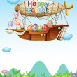 Happy easter greeting in the sky — Stock Vector