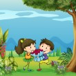 Stock Vector: A boy giving a girl a bouquet of flowers