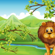 The mountain view with a lion and a river — Stock Vector