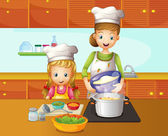 A mother and daughter cooking — Stock Vector