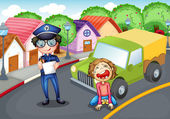 The policeman and the crying driver — Stock Vector