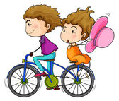 Lovers riding a bike — Stock Vector