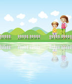 A boy and a girl watching the lake — Stock Vector