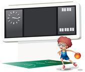 Chłopiec gry w koszykówkę w sądzie — Wektor stockowy