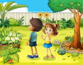 A boy and a girl discussing in the garden — Stock Vector
