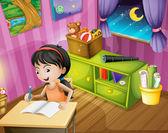 A girl holding a pencil — Stock vektor