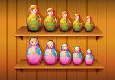 Panenky v dřevěné police — Stock vektor