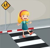 A young lady crossing the pedestrian lane — Stock Vector