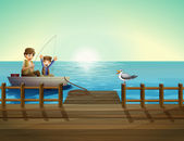 A father and a child fishing near the bridge — Stock Vector