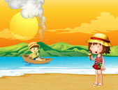 A boy in a wooden boat and a girl at the seashore — Stock Vector