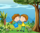A girl and a boy dancing at the park — Stockvector