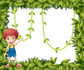 A boy showing the leafy frame with vine plants — Stock Vector