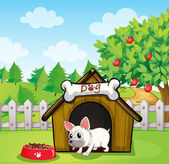 A bulldog outside its dog house with a dog food — Stock Vector