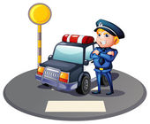 A cop beside a police car with a yellow outpost — Stock Vector