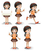 Five different positions of a girl — Vector de stock