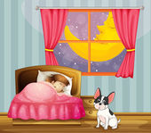 A girl sleeping in her room with a dog — Stock Vector