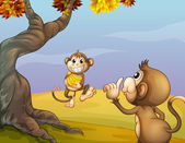 Two monkeys beside the big tree — Stock Vector