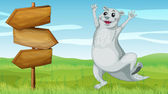 An animal beside a wooden arrow board — Stock Vector