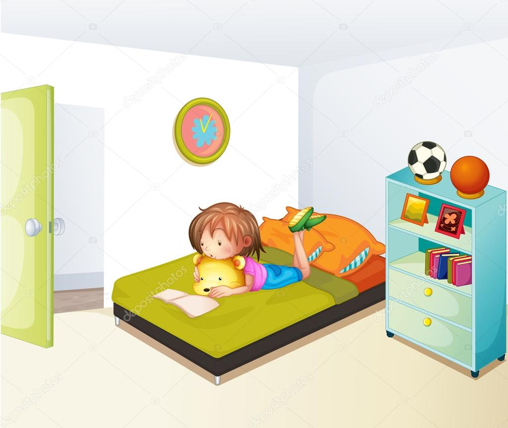 Uma menina estudando no seu quarto limpo vetor de stock for Camera schoonmaken