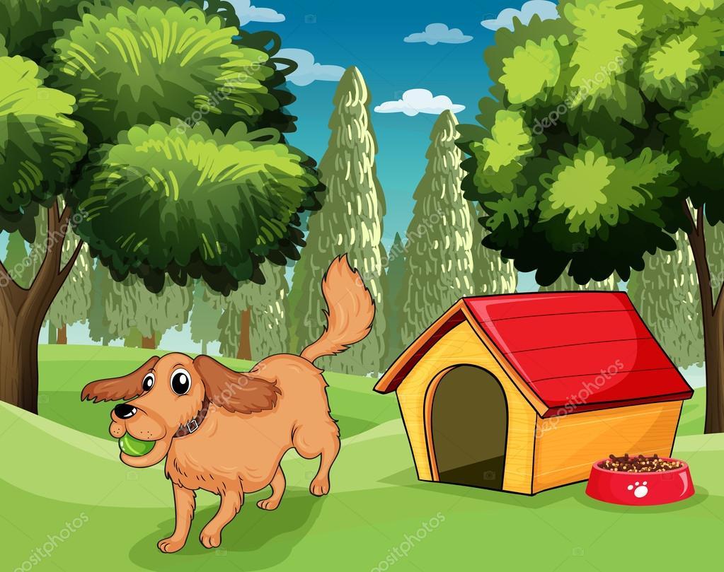 Un perro tocando afuera de una casa de perro vector de for Colores de casa para afuera