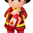 A fire man holding a fire extinguisher - Stock Vector