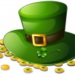 A green hat and coins for St. Patrick's Day — Stock Vector