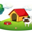 A bulldog outside its dog house — Stock Vector