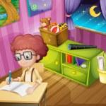 een jongen schrijven in zijn kamer — Stockvector  #21610647