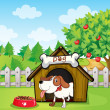 a dog inside a doghouse with a dogfood — Stock Vector