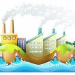 A city with factories - Stock Vector