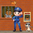 A policeman in front of a jail with two cats — Stock Vector