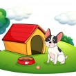 A dog outside its dog house — Stockvectorbeeld