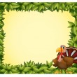 A green border with a turkey — Stock Vector