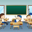 Three boys playing inside the classroom — Stock Vector