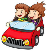 A girl and a boy riding in the red car — Stock Vector