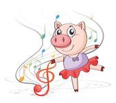 A pig dancing with musical notes — Stock Vector