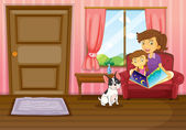 A mother and a girl reading with a dog inside the house — Stock Vector