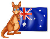 A kangaroo beside an Australian flag — Stock Vector
