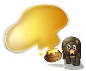 A black bear with honey — Stock Vector
