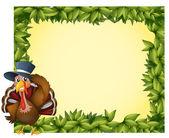 A leafy frame with a turkey — Stock Vector