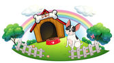 A dog with a dog house and a dog food inside the fence — Stock Vector