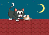 A cat and a mouse at the rooftop — Stock Vector