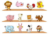 Different kinds of toy animals — Stock Vector