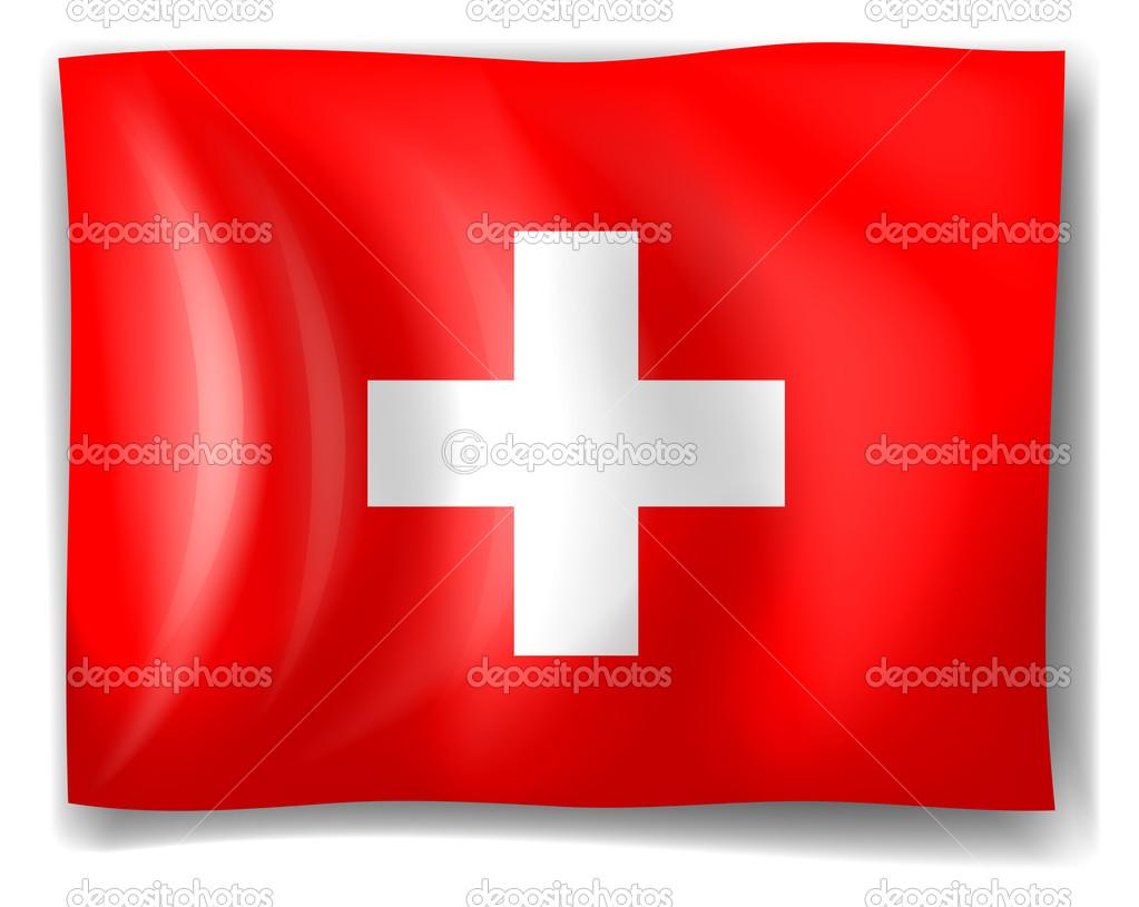 瑞士国旗在白色背景上的插图– 图库插图