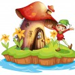 A dwarf outside a mushroom house — Stock Vector