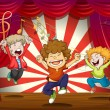 Royalty-Free Stock Vector Image: Kids singing at the stage