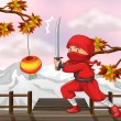 Stock Vector: A red ninja with a sword at the wooden bridge