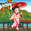 A lady wearing a pink kimono with an umbrella — Stock Vector