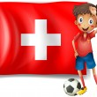 Soccer player in front of swiss flag — Stock Vector #21849393