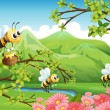 A view of the mountain with flowers and bees — Stock Vector
